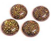 4 Dichroic lampwork Round Cabochons 16mm
